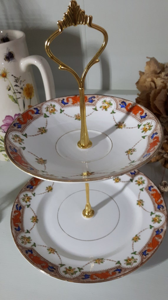 Hand made vintage china cake stand, trinket stand, gorgeous traditional design