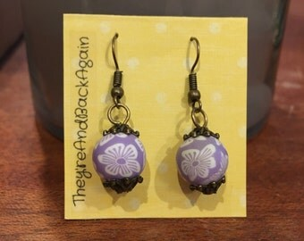 Purple Flowers Clay Bead Earrings