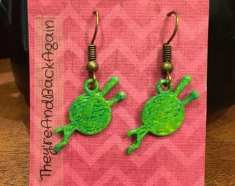 Green&Bronze Ball of Yarn Earrings