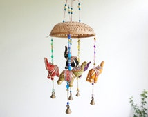 """Vintage Indian colorful mobile """"elephant"""" with bells , 1970s"""