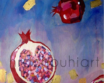 Pomegranate Painting Print, armenian art, abstract pomegranate, deep red, pomegranate artwork, pomegranate print, symbolic fertility
