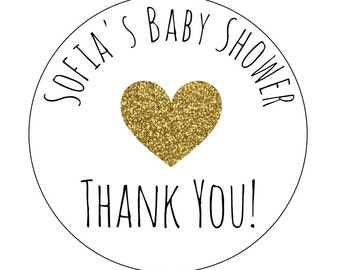 12 Baby Shower Stickers, Thank You Labels, About to Pop Labels, Bottle Labels, Baby Shower Labels, Goodie Bag Labels, Gold Heart Labels