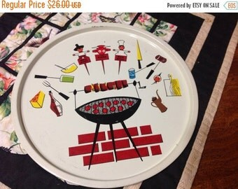 On Sale Set of 4 Round BBQ Themed  Serving Trays Vintage Serving Tray