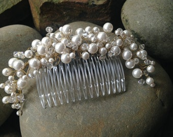 Wedding Hair Comb, Wedding Hair Piece, Wedding Hair Accessories, Swarvoski Pearl and Crystal Chignon Comb by Jacqueline Ashworth