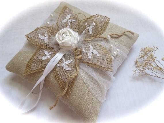 wedding ring bearer ring pillow rustic ring pillow