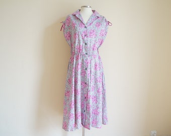 Vintage 1950s Cotton Dress / Vintage Floral Dress