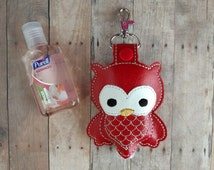 Owl Hand Sanitizer Holder- Red Embroidered Vinyl with Snap, Great for Backpacks, Bags and Purses, Made in USA, Quick Ship, Assorted Colors