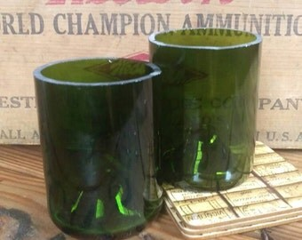 Short Recycled Wine Bottle Tumbler Sets - Green