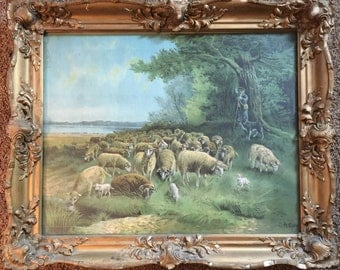 Antique Lithograph Painting by A.Muller with Antique Wooden Frame