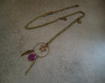 Bronze necklace with charms and a purple sequin - Gypsy chic jewelry - Bohemian style