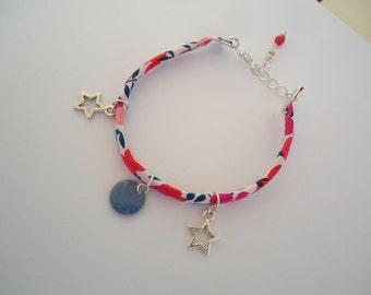 Thin Liberty ribon bracelet with silvery stars - Gypsy chic jewelry - Bohemian style