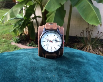 Brown Leather Cuff Watch with Big Buckle