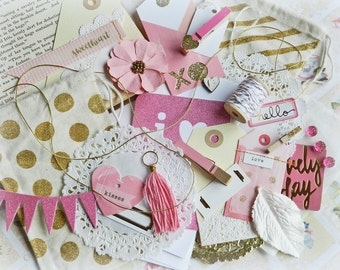 Gift Wrap Kit / Pink and Gold Gift Bags / Gift Tags / Gift Wrapping Ideas / Gift Wrap / Wedding Gift Bag / Bridal Shower / Gift Tags