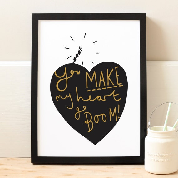 A4 Explosive Love Heart Print -  Mother's Day Print