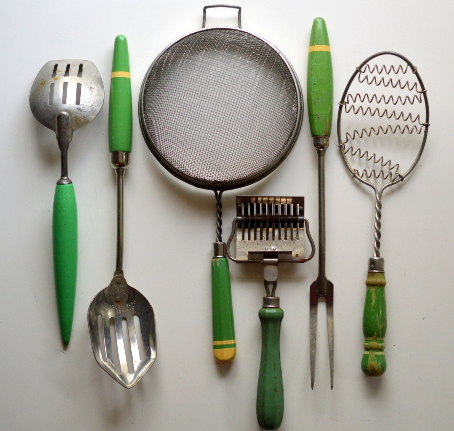Vintage Kitchen Utensils Green Wood Handles Sieve Slotted