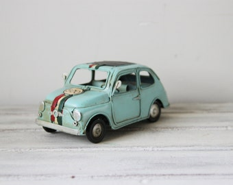Vintage, turquoise, miniature Fiat car 500, retro, shabby chic style, blue Fiat 500, collectible miniature, mens gift, mid nineties