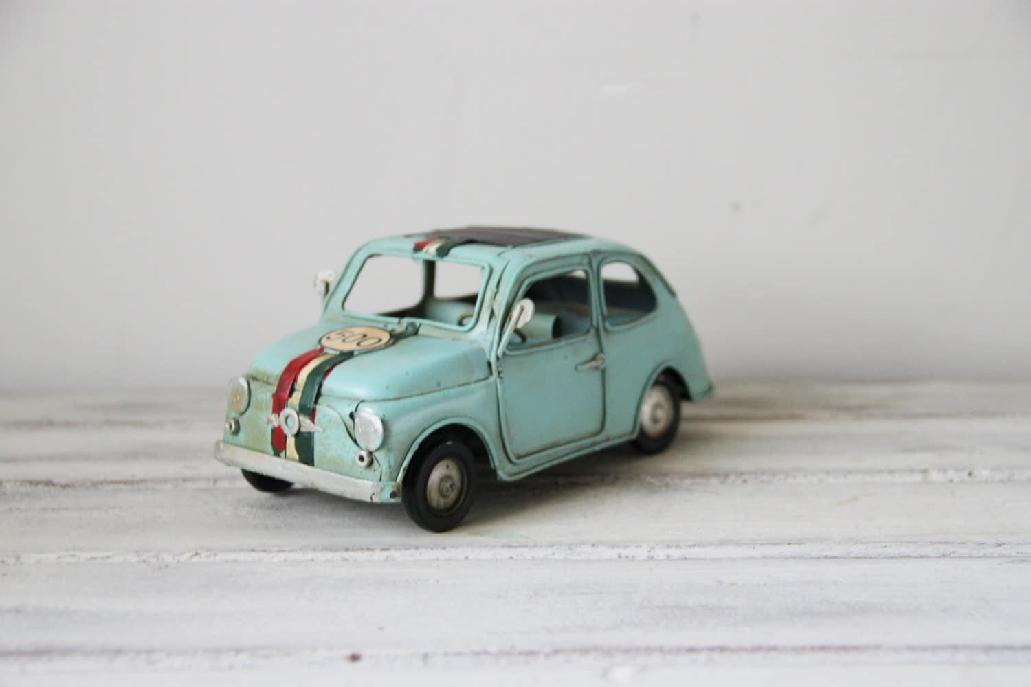 vintage turquoise miniature fiat car 500 retro shabby chic. Black Bedroom Furniture Sets. Home Design Ideas