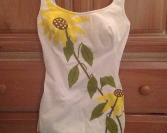 Vintage DeWeese Designs Swimsuit with Yellow Sunflowers