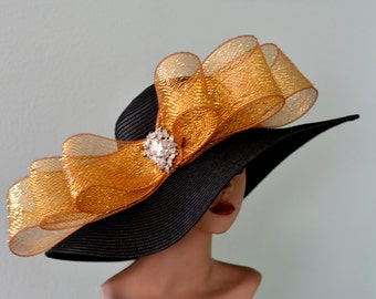 Black Gold Wedding Hat Head Piece Kentucky Derby Hat Black Bridal Coctail Hat Couture Fascinator  Bridal Hat
