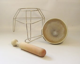 Vintage Food Canning Sieve with Wooden Press Pestle and Stand