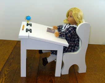 "American Made Doll Furniture / 18 Inch Doll Furniture / 18"" Doll Furniture / Doll School Desk and Chair"