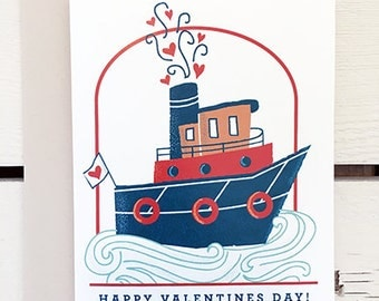 Tug Boat Valentines Day- 6 pc