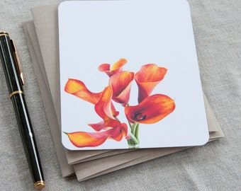 Stationary Set -  Personalized  Stationery Note Cards - Fire Orange Callas