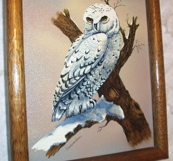 Snowy White Owl Bird Artist Signed Casandra Original Vintage