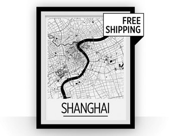 Shanghai Map Poster - china Map Print - Art Deco Series