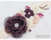 READY TO SHIP Plum Wedding Sash, Bridal Jeweled Sash, Flower Sash, Custom Belt, Plum Blush Ivory Sash, Beaded Sash, Brooch Crystal Sash