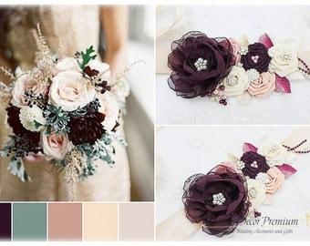 Plum Wedding Sash Bridal Jeweled Flower Sash Brooch Beaded Sash Crystal Sash Custom Bridesmaid Belt in Plum Purple Ivory Blush Rose Quartz