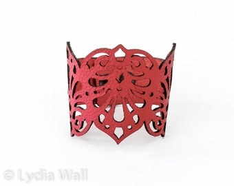 "Laser Cut Leather Cuff ""Teardrops"" in Red"
