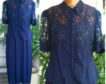Vintage 1940's Widow Lace 40's Navy Blue Two Piece Crepe Flame Stitch Womens Ladies Dress - L