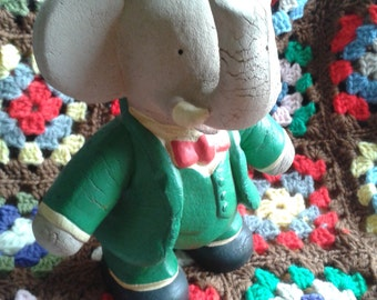 Babar the Elephant King Rubber Toy