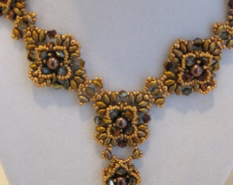 Burgundy Crystal and Silky Gold Iris Super Duo Atila Necklace and Earrings