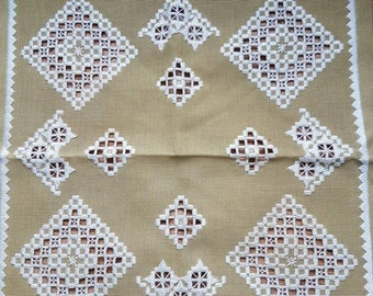 Beautiful openlace/hardanger embroidered green tablecloth/dolly from Sweden 1960