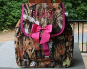 Girls Personalized Small Backpack Camo Pink Trim Monogrammed Camo Knapsack