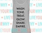 Wash Tone Treat Glow Share Empire Muscle Tank, Bella Flowy, Girl Boss