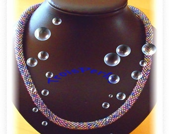 114 Beaded crochet necklace - necklace - Pearl - crochet chain