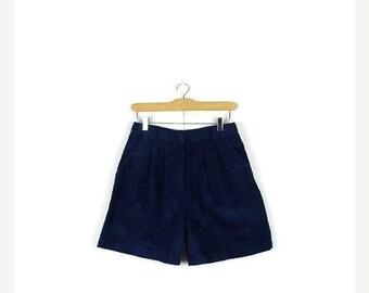 SUMMER SALE Vintage Navy /Dark Blue Corduroy High waist Flare Shorts / Culotte from 1980's/W27*