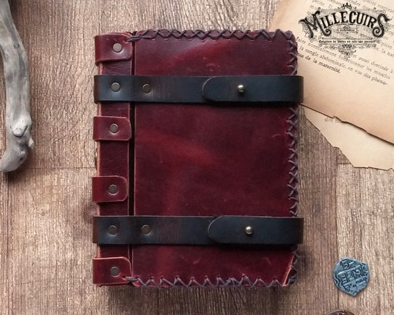 Book Cover Handmade Jewellery : Red leather book cover handmade spellbook larp of