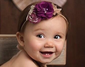 Purple Beige Headband ,chiffon flower headband , Fall colors headband