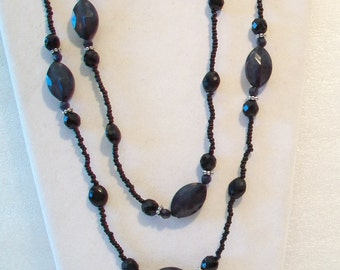 Long Black Gray Beaded Necklace
