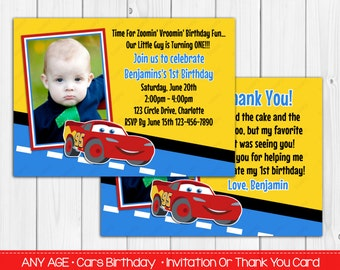 Disney Car's 1st Birthday Invitation OR Thank you card Digital File