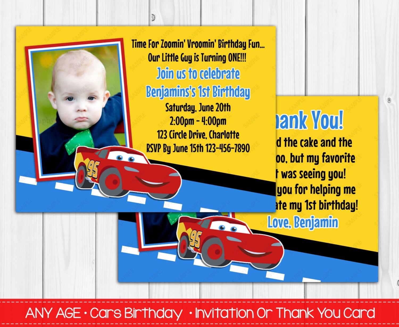 disney cars invites disney car s 1st birthday invitation or thank you card digital file
