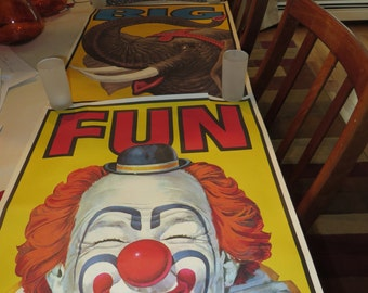 Vintage Set Of Three1983  Nabisco Clown And Elephant Posters Big Top