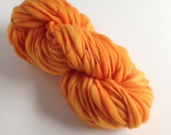 Handspun Thick and Thin Merino Yarn - 50 yds - Smashed Pumpkin
