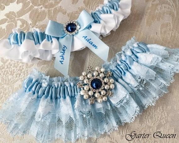 Blue Lace Wedding Garter Set