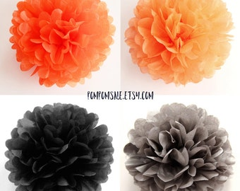 sale happy halloween 8 tissue paper pom poms orange black paper pompoms - Halloween Pom Poms