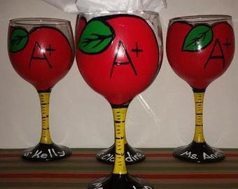 A+ Teacher Personalized Apple Wine Glass